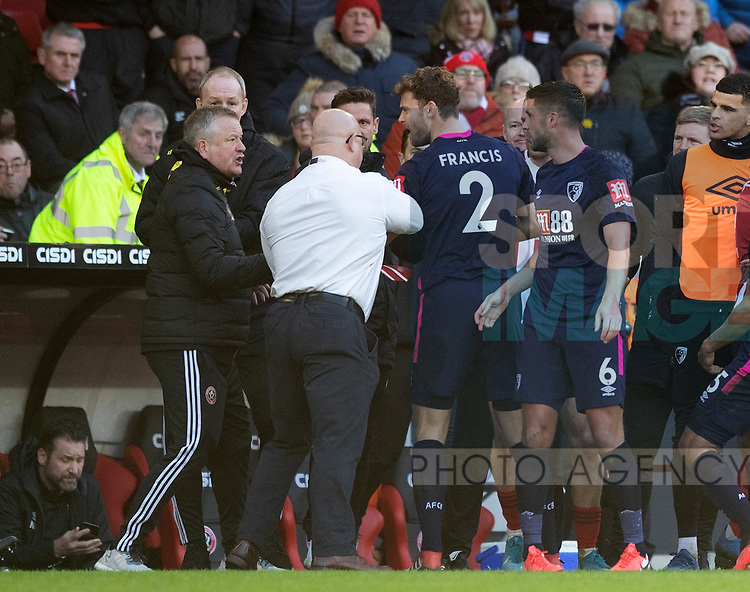 Chris Wilder manager of Sheffield Utd has an exchange of views with Andrew Surman of Bournemouth during the Premier League match at Bramall Lane, Sheffield. Picture date: 9th February 2020. Picture credit should read: Simon Bellis/Sportimage