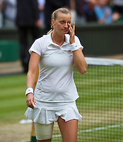 July 5, 2014, United Kingdom, London, Tennis, Wimbledon, AELTC, Ladie's Singles Final:  Eugenie Bouchard (CAN)  vs Petra Kvitova (CZE), Pictured: Petra Kvitova shows her emotion.<br /> Photo: Tennisimages/Henk Koster