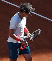 Lo spagnolo Rafael Nadal esulta dopo aver vinto la finale maschile degli Internazionali d'Italia di tennis a Roma, 19 Maggio 2013..Spain's Rafael Nadal reacts after winning the final match of the Italian Open Tennis men's tournament ATP Master 1000 in Rome, 19 May 2013..UPDATE IMAGES PRESS/Riccardo De Luca