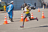 Dennis Kimetto of Kenya on his way to winning the Tokyo 2013 Marathon in a time of 2hrs 6mins 50 despite a cold 4degrees Celsius & strong northerly wind.