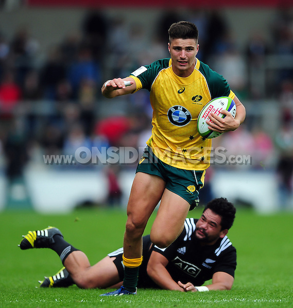Jack Maddocks of Australia U20 takes on the New Zealand defence. World Rugby U20 Championship 5th Place Play-Off between Australia U20 and New Zealand U20 on June 25, 2016 at the AJ Bell Stadium in Manchester, England. Photo by: Patrick Khachfe / Onside Images