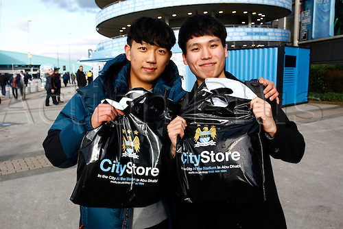 14.02.2016. The Etihad, Manchester, England. Barclays Premier League. Manchester City versus Tottenham Hotspur. Korean fans visiting the Etihad for the first time.