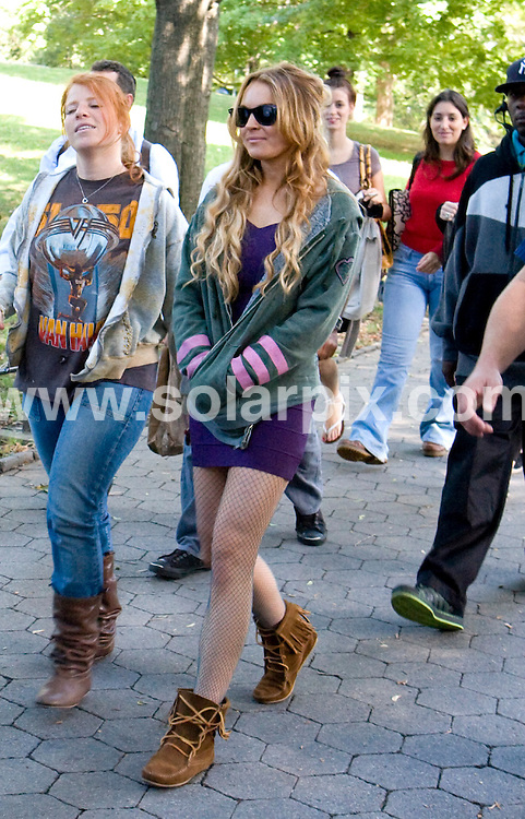 "**ALL ROUND PICTURES FROM SOLARPIX.COM**.**SYNDICATION RIGHTS FOR UK, SPAIN, PORTUGAL, AUSTRALIA, S.AFRICA & DUBAI (U.A.E) ONLY**.Lindsay Lohan filming ""Ugly Betty""  in Central Park New York City, NY, USA. September 10, 2008..JOB REF: 7284 PHZ(Mayer)    DATE: 10_09_2008.**MUST CREDIT SOLARPIX.COM OR DOUBLE FEE WILL BE CHARGED* *UNDER NO CIRCUMSTANCES IS THIS IMAGE TO BE REPRODUCED FOR ANY ONLINE EDITION WITHOUT PRIOR PERMISSION*"