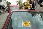 Car windscreen with parking ticket, Camden Town, London.