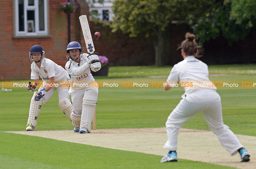Hannah Jones of Surrey drives straight back to the bowler Heather Graham of Essex - Essex Women v Surrey Women, Division 1 Royal London Women's One Day Cup, Felsted School, Essex - 25/05/14 - MANDATORY CREDIT: Ray Lawrence/TGSPHOTO - Self billing applies where appropriate - 0845 094 6026 - contact@tgsphoto.co.uk - NO UNPAID USE