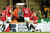 27th Ocotber 2019; Carrow Road, Norwich, Norfolk, England, English Premier League Football, Norwich versus Manchester United; Scott McTominay of Manchester Utd scores for 0-1 in the 21st minute - Strictly Editorial Use Only. No use with unauthorized audio, video, data, fixture lists, club/league logos or 'live' services. Online in-match use limited to 120 images, no video emulation. No use in betting, games or single club/league/player publications