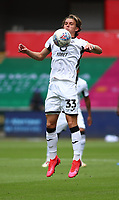 5th July 2020; Liberty Stadium, Swansea, Glamorgan, Wales; English Football League Championship, Swansea City versus Sheffield Wednesday; Conor Gallagher of Swansea City jumps to control the ball on his chest