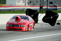 Aug. 31, 2012; Claremont, IN, USA: NHRA pro stock driver Lewis Worden during qualifying for the US Nationals at Lucas Oil Raceway. Mandatory Credit: Mark J. Rebilas-