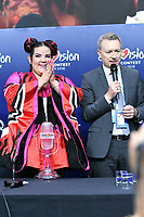 LISBON, PORTUGAL - MAY 12: Netta Barzilai (Israel), Jon Ola Sand is named the Eurovision Song Contest Winner during the Grand Final of the Eurovision Song Contest on May 12th, 2018 in Lisbon, Portugal.<br /> **Not for sale in Russia or FSU**<br /> CAP/PER/EN<br /> &copy;EN/PER/Capital Pictures