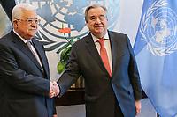 NOVA YORK, EUA, 14.01.2019 - PALESTINA-ONU - O Secretário Geral da ONU, Antônio Guterres recebe o presidente da Palestina  Mahmoud Abbas na sede das Nações Unidas em Nova York nos Estados Unidos nesta segunda-feira, 14.(Foto: William Volcov/Brazil Photo Press)