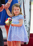 19.07.2017; Berlin, Germany: PRINCESS CHARLOTTE RECEIVES HER FIRST OFFICIAL BOUQUET<br /> The 2-year-old arrived with brother Prince George and parents the Duke and Duchess of Cambridge at Teigel Airport, Berlin at the start of their tour of Germany.<br /> Mandatory Photo Credit: &copy;Francis Dias/NEWSPIX INTERNATIONAL<br /> <br /> IMMEDIATE CONFIRMATION OF USAGE REQUIRED:<br /> Newspix International, 31 Chinnery Hill, Bishop's Stortford, ENGLAND CM23 3PS<br /> Tel:+441279 324672  ; Fax: +441279656877<br /> Mobile:  07775681153<br /> e-mail: info@newspixinternational.co.uk<br /> Usage Implies Acceptance of OUr Terms &amp; Conditions<br /> Please refer to usage terms. All Fees Payable To Newspix International
