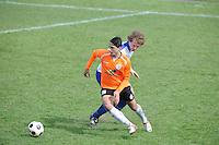 "VOETBAL: BALK: Voetbalcomplex ""de Wilgen"", 27-04-2013, KNVB 1ste Klasse E district Noord, VV Balk -VV Drachtster Boys, Einduitslag 1-2, Aziz Geyik (#18 | DB), Ivar Klijnsma (#2 | Balk), ©foto Martin de Jong"