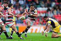 Telusa Veainu of Leicester Tigers takes on the Worcester Warriors defence. Aviva Premiership match, between Leicester Tigers and Worcester Warriors on October 8, 2016 at Welford Road in Leicester, England. Photo by: Patrick Khachfe / JMP