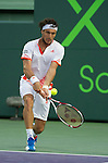 Andy Roddick (USA) is defeated  at the Sony Ericsson Open in Key Biscayne, Florida on March 27, 2012.