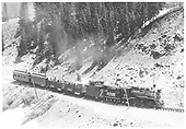 Engine #74 with Rocky Club excursion trip with RGS caboose #0400, 2 gondolas, D&amp;RGW coach #311 &amp; RGS business car B-20 &quot;Edna&quot;.<br /> RGS  Trout Lake area, CO  5/29/1949