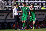 Amanov Arslan of Turkmenistan (C) celebrating scoring the opening goal of the team as Japan Head Coach Hajime Moriyasu (L) looks on during the AFC Asian Cup UAE 2019 Group F match between Japan (JPN) and Turkmenistan (TKM) at Al Nahyan Stadium on 09 January 2019 in Abu Dhabi, United Arab Emirates. Photo by Marcio Rodrigo Machado / Power Sport Images