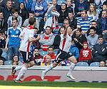 John Baird celebrates as Falkirk score at Ibrox