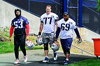 June 7, 2017: New England Patriots linebacker Kyle Van Noy (53), tackle Nate Solder (77), and offensive lineman Shaq Mason (69) walk to practice at the New England Patriots mini camp held on the practice field at Gillette Stadium, in Foxborough, Massachusetts. Eric Canha/CSM