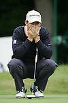 Padraig Harrington lines up his putt on the 1st green during the 3rd round of the BMW PGA Championship at Wentworth Club, Surrey, England 26th may 2007 (Photo by Eoin Clarke/NEWSFILE)
