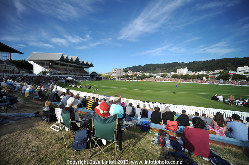 A general view of the Basin Reserve during the HRV Cup Twenty20 cricket match between the Wellington Firebirds and Otago Volts at Hawkins Finance Basin Reserve, Wellington, New Zealand on Friday, 11 January 2013. Photo: Dave Lintott / lintottphoto.co.nz
