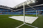 Pitch covers in place in front of the goal due to extensive rain ahead of kick off - Manchester City vs Swansea - Barclays Premier League - Etihad Stadium - Manchester - 12/12/2015 Pic Philip Oldham/SportImage