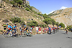 The leading riders including Miguel Angel Lopez (COL) Astana Pro Team, George Bennett (NZL) LottoNL-Jumbo and Nairo Quintana (COL) Movistar Team on the slopes of Sierra de la Alfaguara near the finish of Stage 4 of the La Vuelta 2018, running 162km from Velez-Malaga to Alfacar, Sierra de la Alfaguara, Andalucia, Spain. 28th August 2018.<br /> Picture: Eoin Clarke | Cyclefile<br /> <br /> <br /> All photos usage must carry mandatory copyright credit (&copy; Cyclefile | Eoin Clarke)