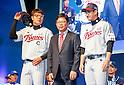 Yang Sang-moon, Ryu Jae-kuk and Park Yong-Taik, Mar 28, 2016 : South Korean baseball team LG Twins' manager Yang Sang-moon (C), pitcher Ryu Jae-kuk (L) and outfielder Park Yong-Taik pose during a media day and fanfest of 10 clubs in the Korea Baseball Organization (KBO) in Seoul, South Korea. (Photo by Lee Jae-Won/AFLO) (SOUTH KOREA)