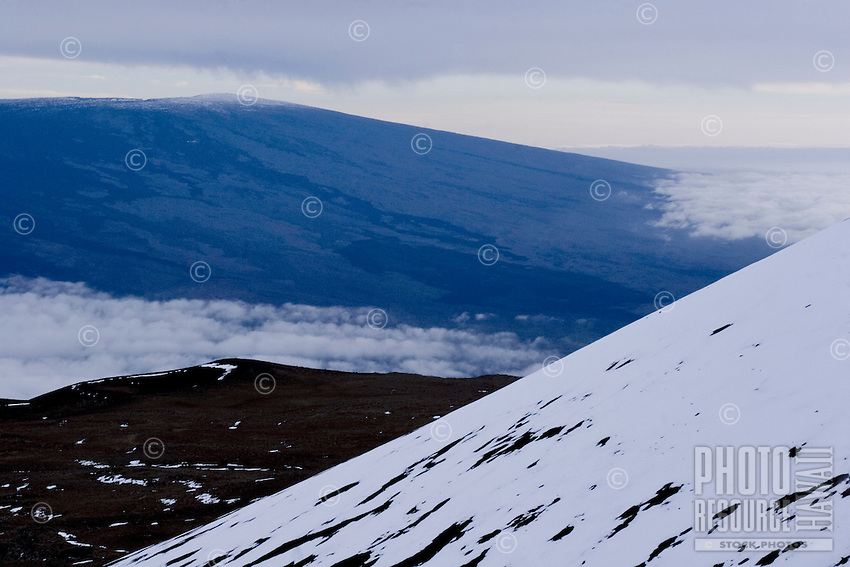 Snow-covered cinder cones on Mauna Kea