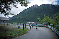 riders up the Passo Del Mortirolo (1854m) on stage 16: Pinzolo - Aprica (174km) of the 2015 Giro d'Italia