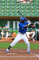 Devan Ahart (6) of the Ogden Raptors at bat against the Missoula Osprey in Pioneer League action at Lindquist Field on August 5, 2014 in Ogden, Utah.  (Stephen Smith/Four Seam Images)