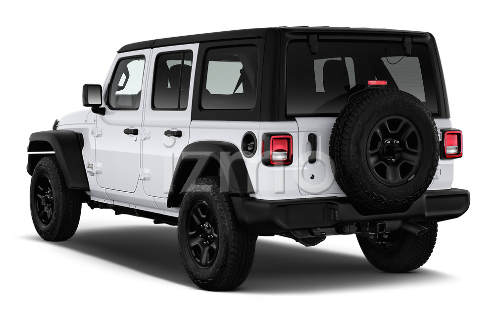 Car pictures of rear three quarter view of a 2020 Jeep Wrangler Unlimited Sport S 5 Door SUV angular rear