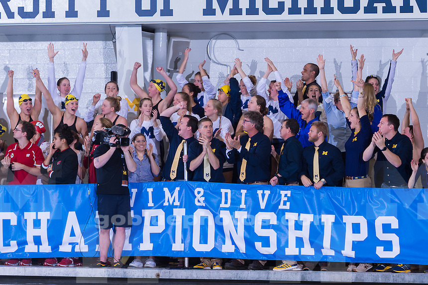 The University of Michigan women's swim and dive team 1,361point victory,winning the 2016 Big Ten Championships at Canham Natatorium in Ann Arbor,MI. on Feb. 20 2016.