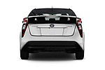 Straight rear view of 2017 Toyota Prius Two 5 Door Hatchback Rear View  stock images