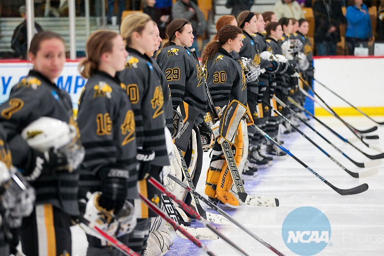 ADRIAN, MI - MARCH 18: Adrian College lines up for player announcements during the Division III Women's Ice Hockey Championship held at Arrington Ice Arena on March 19, 2017 in Adrian, Michigan. Plattsburgh State defeated Adrian 4-3 in overtime to repeat as national champions for the fourth consecutive year. by Tony Ding/NCAA Photos via Getty Images)