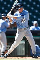 North Carolina Tar Heels outfielder Skye Bolt #20 at bat against the California Golden Bears in the NCAA baseball game on March 2nd, 2013 at Minute Maid Park in Houston, Texas. North Carolina defeated Cal 11-5. (Andrew Woolley/Four Seam Images).