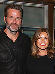 Peter Hermann and Mariska Hargitay backstage after Nicolette Robinson makes her Broadway debut in 'Waitress' on September 4, 2081 at the Brooks Atkinson Theatre in New York City.