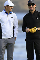 Jordan Spieth and Jake Owen (USA) on the 18th green during Saturday's Round 3 of the 2018 AT&amp;T Pebble Beach Pro-Am, held over 3 courses Pebble Beach, Spyglass Hill and Monterey, California, USA. 10th February 2018.<br /> Picture: Eoin Clarke | Golffile<br /> <br /> <br /> All photos usage must carry mandatory copyright credit (&copy; Golffile | Eoin Clarke)