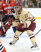 Quinn Smith (BC - 27) - The Boston College Eagles defeated the Northeastern University Huskies 7-1 in the opening round of the 2012 Beanpot on Monday, February 6, 2012, at TD Garden in Boston, Massachusetts.