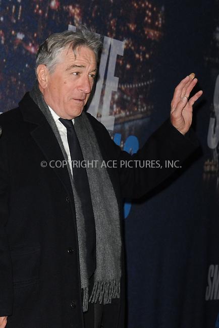 WWW.ACEPIXS.COM<br /> February 15, 2015 New York City<br /> <br /> Robert De Niro walking the red carpet at the SNL 40th Anniversary Special at 30 Rockefeller Plaza on February 15, 2015 in New York City.<br /> <br /> Please byline: Kristin Callahan/AcePictures<br /> <br /> ACEPIXS.COM<br /> <br /> Tel: (646) 769 0430<br /> e-mail: info@acepixs.com<br /> web: http://www.acepixs.com