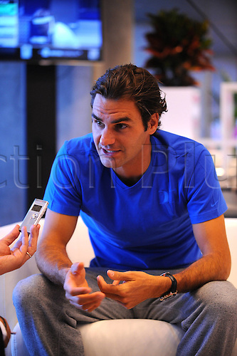 08.05.2012. Madrid, Spain.   Roger Federer SUI Tennis Interview  Madrid 08 05 2012