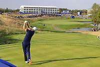 Justin Rose Team Europe tees off the 15th tee during Friday's Foursomes Matches at the 2018 Ryder Cup 2018, Le Golf National, Ile-de-France, France. 28/09/2018.<br /> Picture Eoin Clarke / Golffile.ie<br /> <br /> All photo usage must carry mandatory copyright credit (© Golffile | Eoin Clarke)