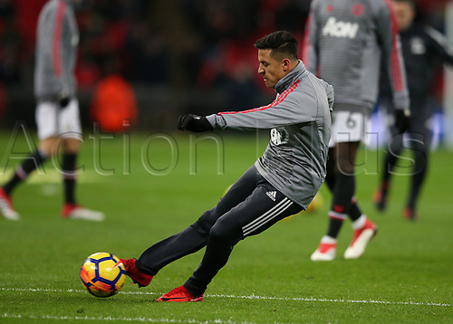 31st January 2018, Wembley Stadium, London England; EPL Premier League football, Tottenham Hotspur versus Manchester United; New signing Alexis Sanchez of Manchester United during shooting practise during pre match warm up