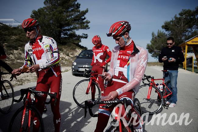 Jurgen Van den Broeck (BEL/Katusha) & teammates having a small break (mid-training) up the Coll de Rates (Alicante, Spain)<br /> <br /> January 2016 Training Camps