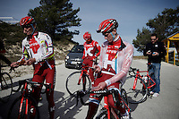 Jurgen Van den Broeck (BEL/Katusha) &amp; teammates having a small break (mid-training) up the Coll de Rates (Alicante, Spain)<br /> <br /> January 2016 Training Camps