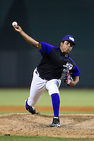 Winston-Salem Dash relief pitcher Raul Fernandez (36) in action against the Lynchburg Hillcats at BB&T Ballpark on August 13, 2014 in Winston-Salem, North Carolina.  The Hillcats defeated the Dash 4-3.   (Brian Westerholt/Four Seam Images)
