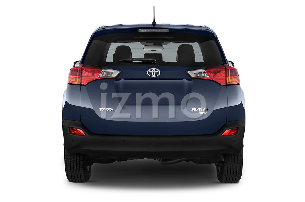 Straight rear view of a 2015 Toyota RAVA4 Lounge 5 Door SUV stock images