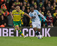 Norwich City's Teemu Pukki (left) vies for possession with Blackburn Rovers' Amari'i Bell (right) <br /> <br /> Photographer David Horton/CameraSport<br /> <br /> The EFL Sky Bet Championship - Norwich City v Blackburn Rovers - Saturday 27th April 2019 - Carrow Road - Norwich<br /> <br /> World Copyright © 2019 CameraSport. All rights reserved. 43 Linden Ave. Countesthorpe. Leicester. England. LE8 5PG - Tel: +44 (0) 116 277 4147 - admin@camerasport.com - www.camerasport.com