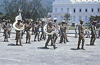 A military band marches in front of the Presdidential Palace in Port-Au-Prince, Haiti, 1981.  (Photo by Edward Cleary/www.bcpix.com)