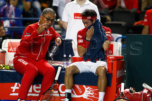 04.03.2016. Barclaycard Arena, Birmingham, England. Davis Cup Tennis World Group First Round. Great Britain versus Japan. Minoru Ueda and Kei Nishikori.