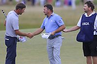 Graeme McDowell (NIR) and Lucas Glover (USA) finish on the 9th green during Thursday's Round 1 of the 118th U.S. Open Championship 2018, held at Shinnecock Hills Club, Southampton, New Jersey, USA. 14th June 2018.<br /> Picture: Eoin Clarke | Golffile<br /> <br /> <br /> All photos usage must carry mandatory copyright credit (&copy; Golffile | Eoin Clarke)